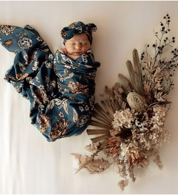 Baby Jersey Wrap & Topknot Set