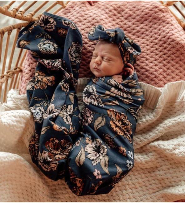 Baby Jersey Wrap & Topknot Set