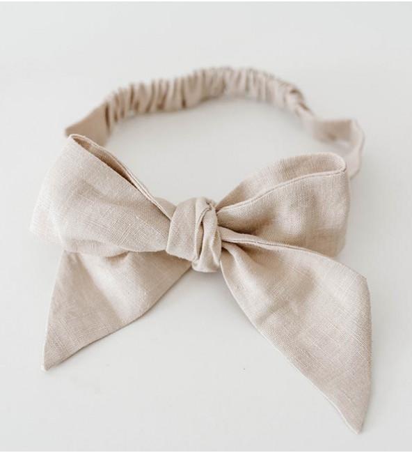 Linen Bow Pre-Tied Headband Wrap