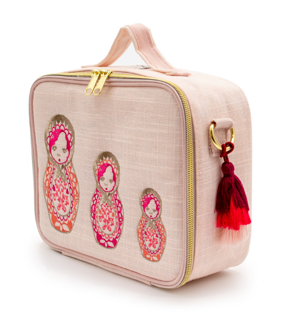 Pink Embroidered Dolls Lunchbox
