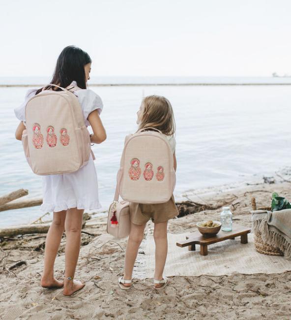 Pink Embroidered Dolls Toddler Backpack