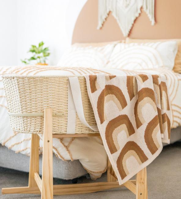 Kiin Organic Cotton Knitted Rainbow Blanket