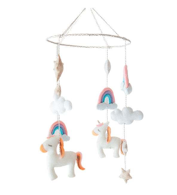 Unicorn Rainbow Mobile Crib