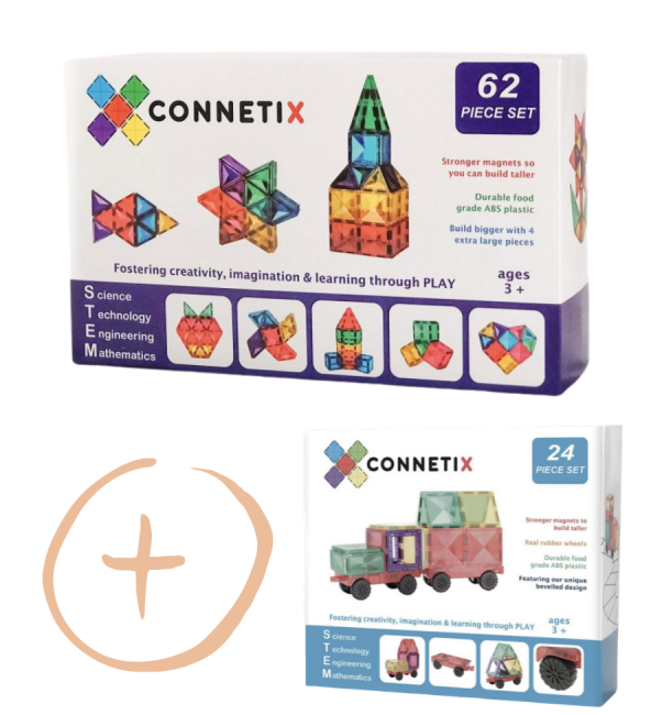 (Bundle Set) Connetix Tiles | 24 Piece Car Pack + 62 Piece Set