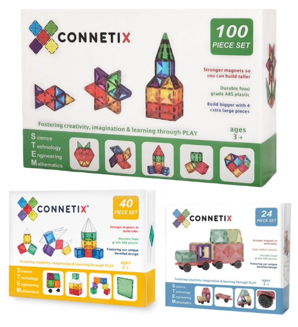 (Bundle Set) Connetix 24 Piece Car Pack + 40 Piece Set Magnetic Tiles + 100 Piece Set Magnetic Tiles