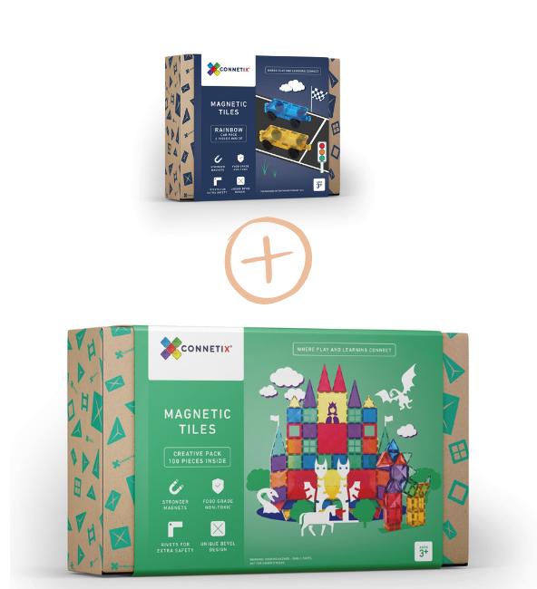 (Bundle Set) Connetix Tiles 100 Piece Set + 2 Piece Car Pack Set