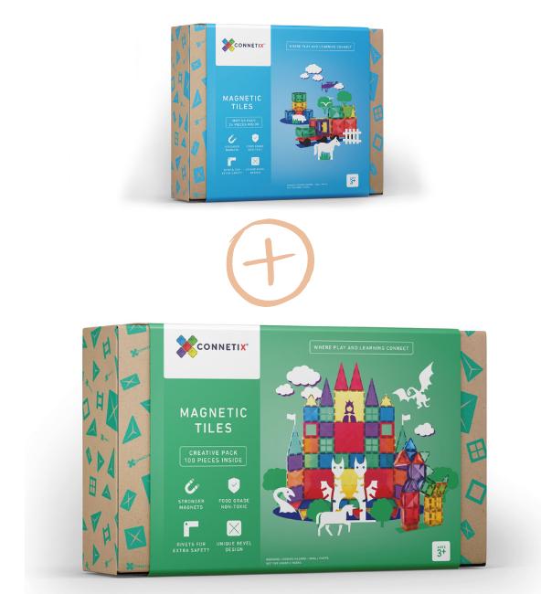 (Bundle Set) Connetix Tiles | 24 Piece Car Pack + 100 Piece Set