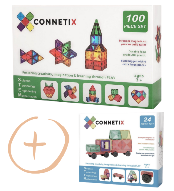 (Bundle Set) Connetix Tiles | 24 Piece Car Pack + 100 Piece Set