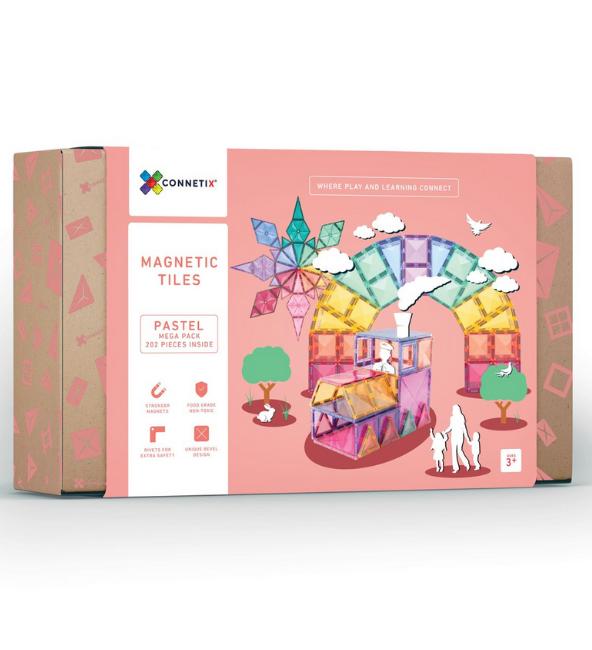 (Bundle Set) Connetix Tiles 202 Pastel Mega Pack + 120 Piece Pastel Set