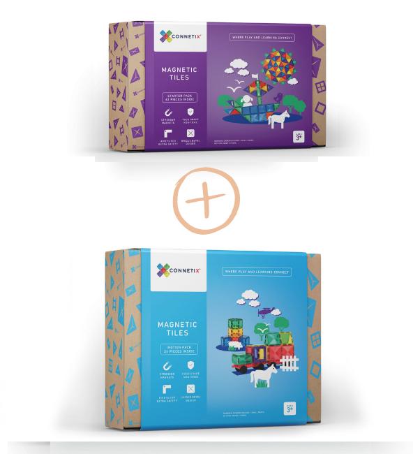 (Bundle Set) Connetix Tiles | 24 Piece Car Pack + 62 Piece Set