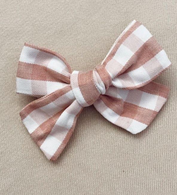 Dusty Pink Gingham Bow Headband