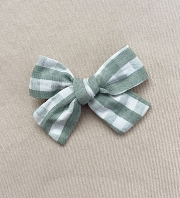Green Gingham Bow