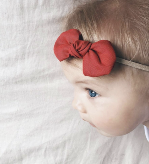 Red Fabric Bow Headband