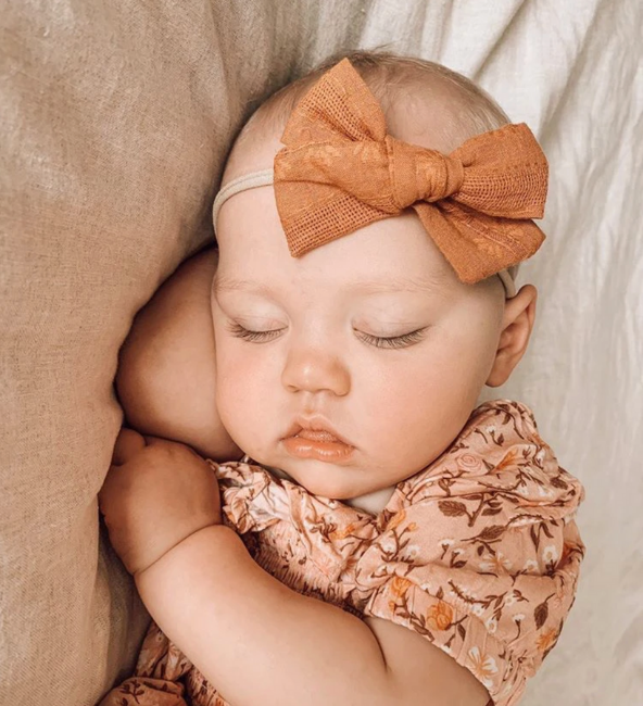 Mustard Embroidery Bow Headband