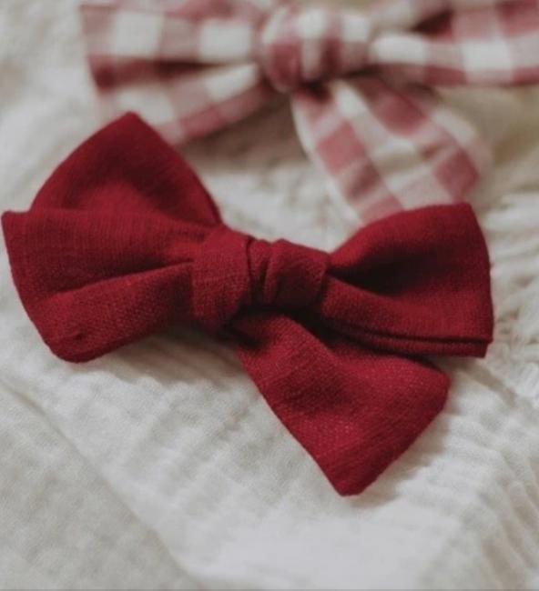 Red Linen Bow Headband