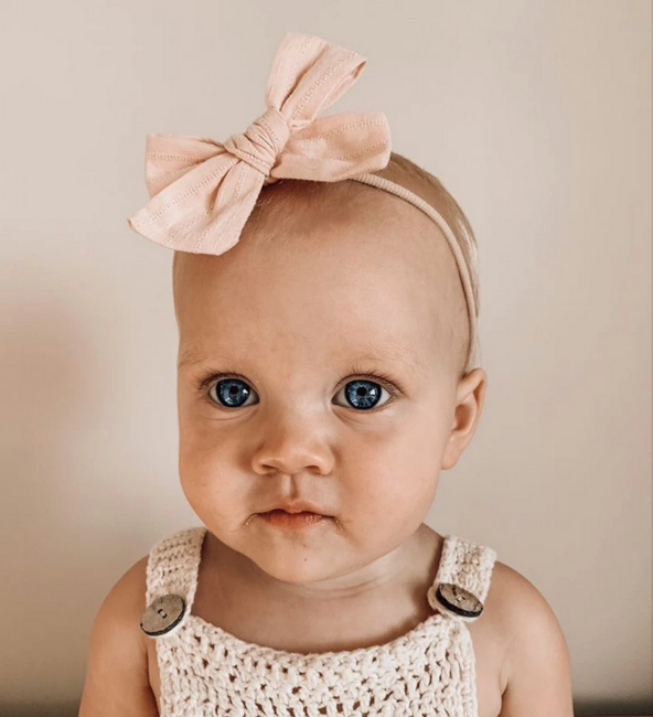 Pale Pink Embroidery Bow